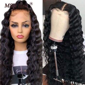 MSH głęboka fala 13x4 koronkowa peruka na przód brazylijskie dziewicze włosy 4x4 zamknięcie koronki peruki Pre Placked dla czarnych kobiet Natural Color