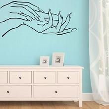 Girl Hand Manicure Spa Beauty Salon Decoration PVC Personality Creative Sticker Art Wall Sticker Home Decoration 57*26cm(China)
