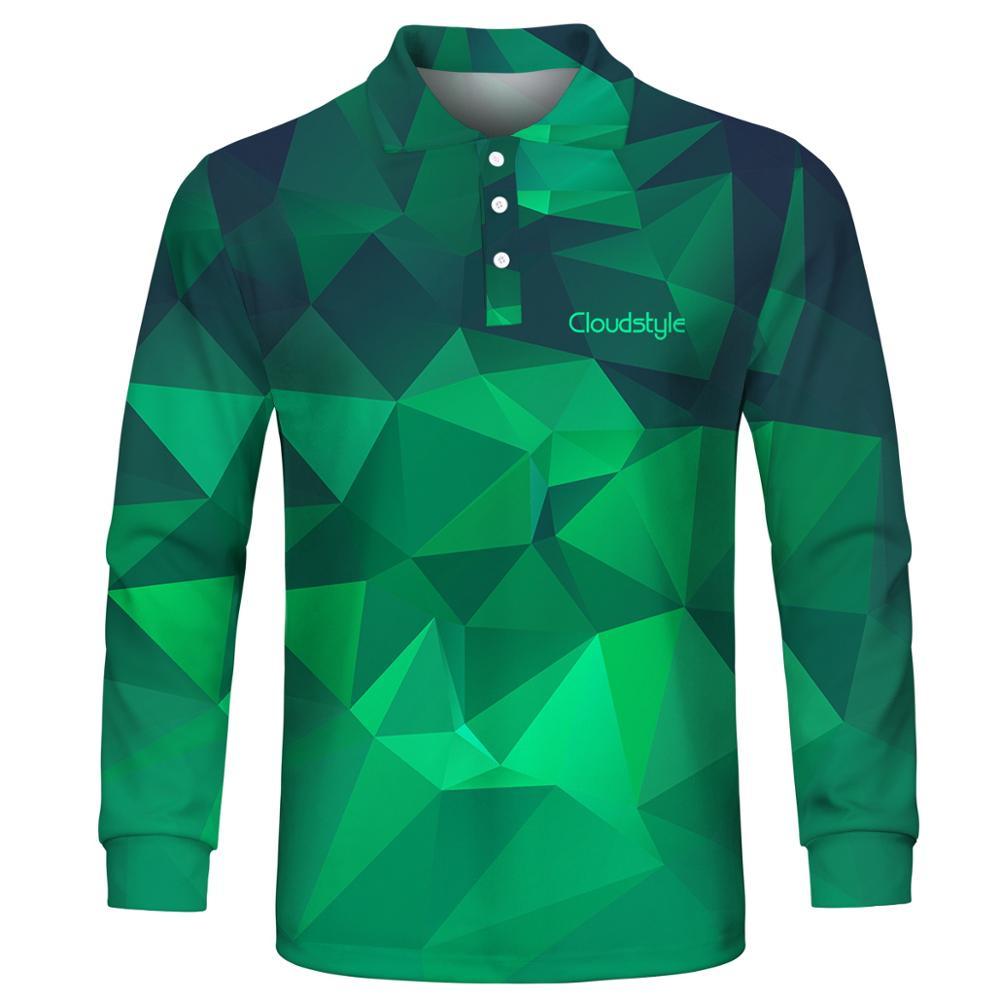 2019 Fashion Men's Polo Shirts Casual Men Polo Shirts 3D Print Long Sleeve Turn-down Collar Breathable Polo Shirt