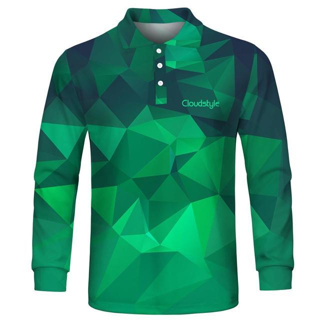 2020 ファッション男性のポロシャツカジュアル男性ポロシャツ 3D プリント長袖ターンダウン襟通気性のポロシャツ