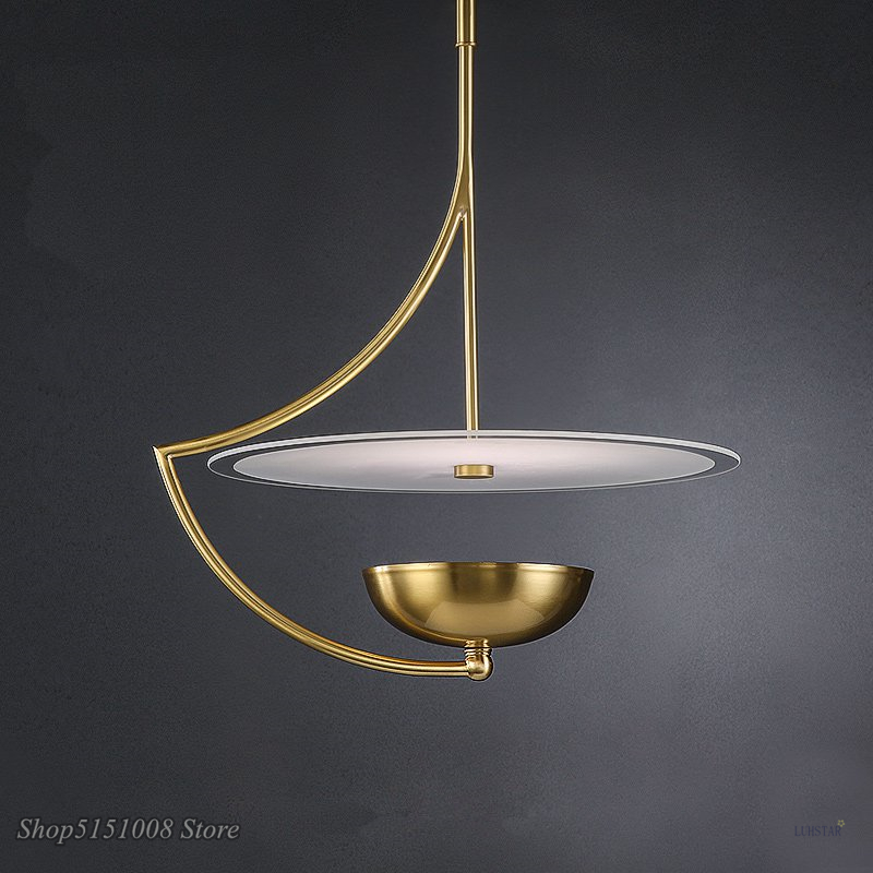 Post Modern Brass Pendant Light Scandinavian Copper Industrial Decor Hanglamp Home Deco Kitchen Restaurant Lighting Fixtures