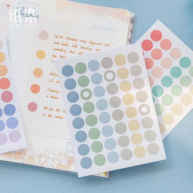 96 Pcs Ronde Etiketten Morandi Dot Decoratie Stickers Papier Sticker Vlokken Voor Diy Scrapbooking Bullet Journal Planners