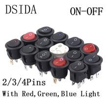 ON/OFF Round Rocker Switch LED illuminated Car Dashboard Dash Boat Van 12V 24V / 6A 250V / 10A 125V 2/3/4PIN Switch 20MM ON-OFF