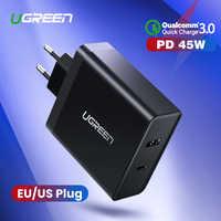 Ugreen chargeur USB PD 45W chargeur rapide pour iPhone X 8 Charge rapide 3.0 pour Xiaomi chargeur de téléphone pour MacBook Pro Nintendo Switch