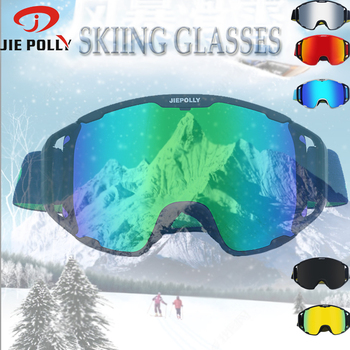 JIE POLLY Brand UV400 Anti-fog Ski Goggles Big Lens Ski Mask Glasses Skiing Snow Snowboard Eyewear Goggles for men and women