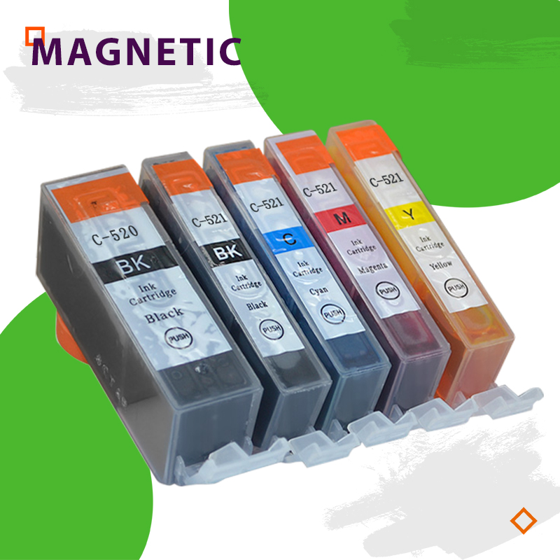 5X Colorful <font><b>Ink</b></font> <font><b>Cartridge</b></font> PGI520 CLI521 for <font><b>Canon</b></font> Pixma MP540 MP550 MP560 MP620 <font><b>MP630</b></font> MP640 MP980 MP990 MX860 MX870 IP3600 520 image