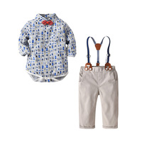 Baby Boy Clothes Child Long Sleeve Romper+Overalls Clothing Sets Cotton Print Bow Romper 2 Pcs Set 1st Birthday Uniform Outfit