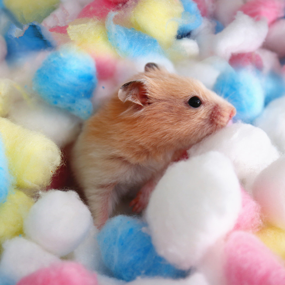 100Pcs/Bag Colorful Small Animals Toys For Hamster Rat Mouse Winter Keep Warm Cotton Ball Cute Cage House Filler Supply