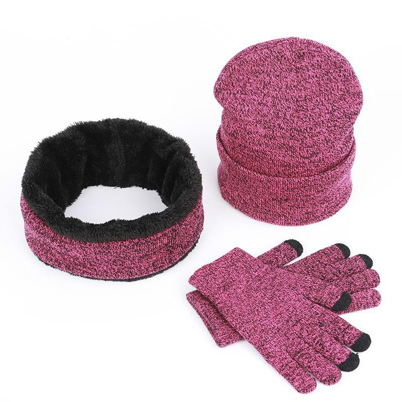 2019 Wool Hat Scarf Gloves Three-piece Set Men Women Warm Fur Windproof  Winter Accessories