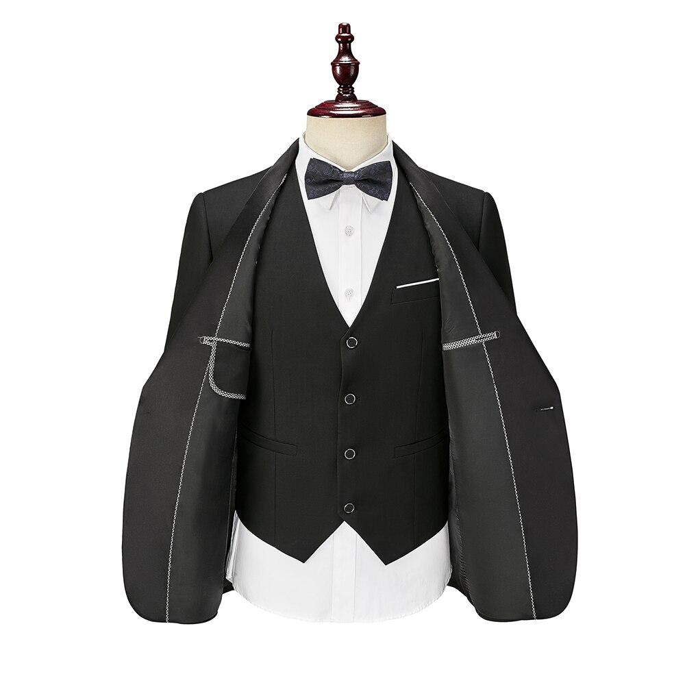 For Men Wedding Pants Suits Jacket Tuxedos 3 Black Stock Ready Piece Vest 2020 Formal Fit Set In Slim Suit Groom Boyfriend