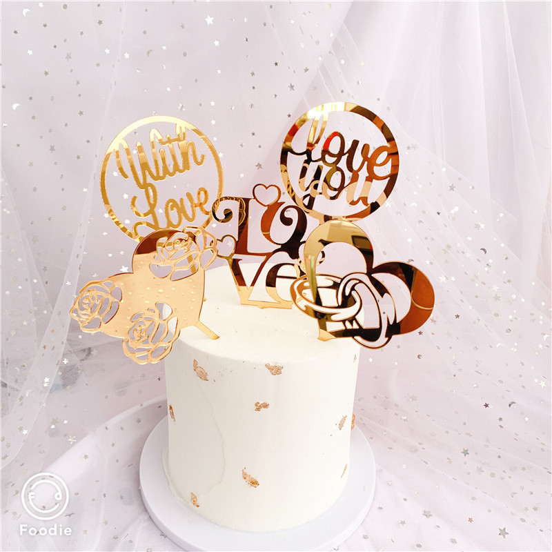 Best Promo 19644 2020 New Valentine S Day Acrylic Cake Topper Gold Pink Wedding Cake Topper For Valentine S Day Wedding Party Cake Decorations Cicig Co