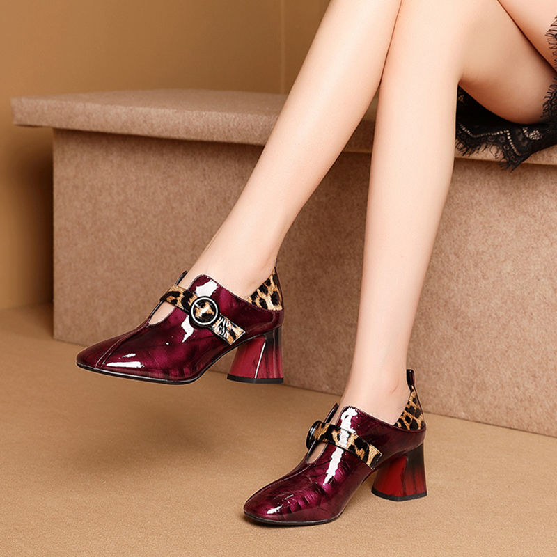Single Shoes Woman High Heels Women Pumps Square Toe Buckle Thick Heel British Style Female Patent Leather Shoe Wine Red Black