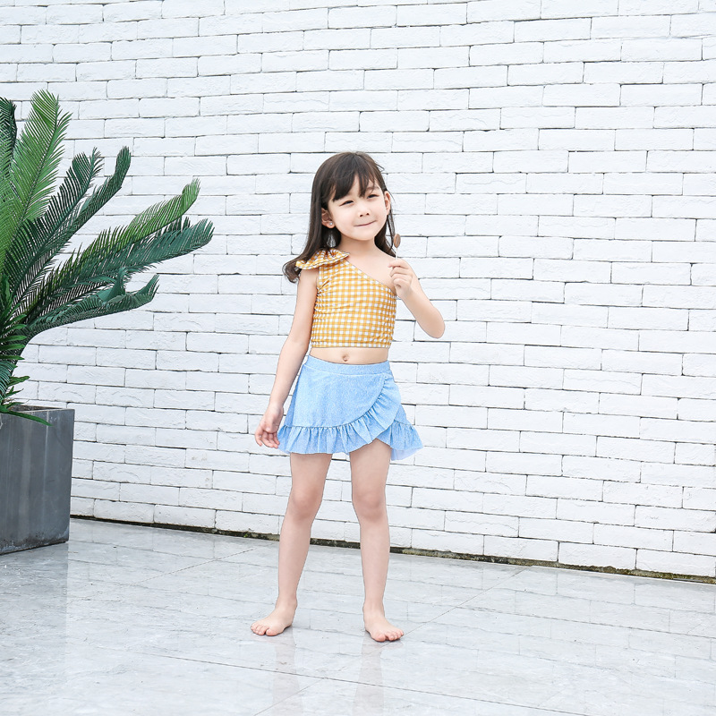 Girl'S Swimsuit Split Type Cute Children Sun-resistant Triangular Tour Bathing Suit Big Boy Baby Korean-style Princess Dress-Swi