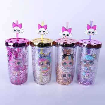 Lol Surprise Dolls 300-400ml Cute Children Cup Sequins Color Double Plastic Straw Water Cup Cartoon Pattern Kettle Girls Gifts
