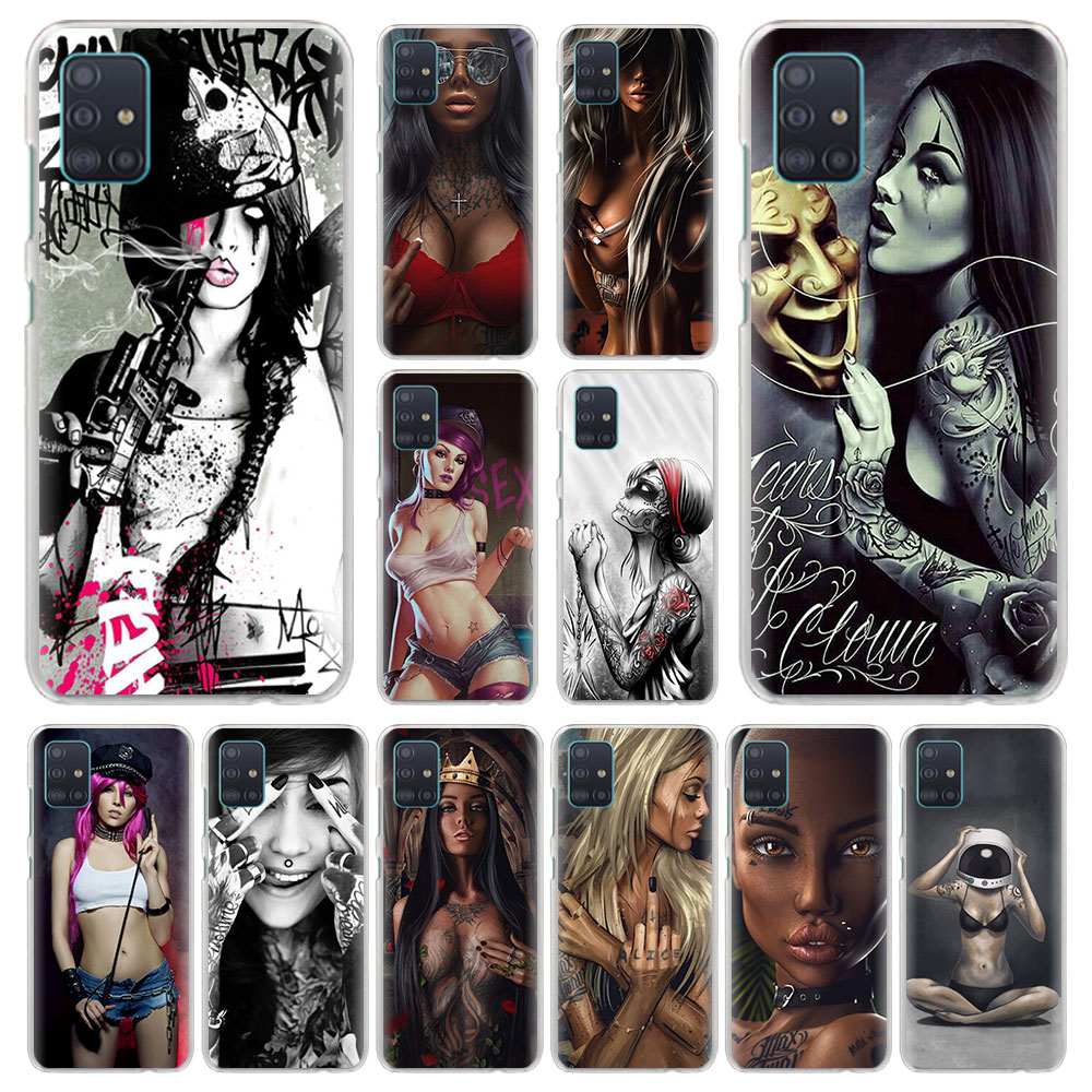 Sexy Sleeve Tattooed Girl Phone Cases for Samsung Galaxy A10 A20 A30 A40 A50 A70 A51 A71 5G Hard Cases Cover image