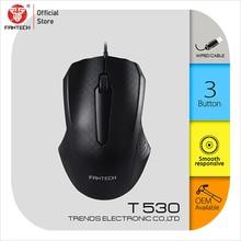 Fantech t530 computador mouse usb cabo ratos 3 botão ergonômico rato óptico sensação confortável para uso diário rato escritório com fio