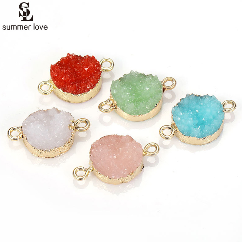 10PCS/Lot Gold Color Fake Stone Crystal Resin Druzy Connectors Charms For Bracelet Making 2 Holes Round Pendant Jewelry Findings