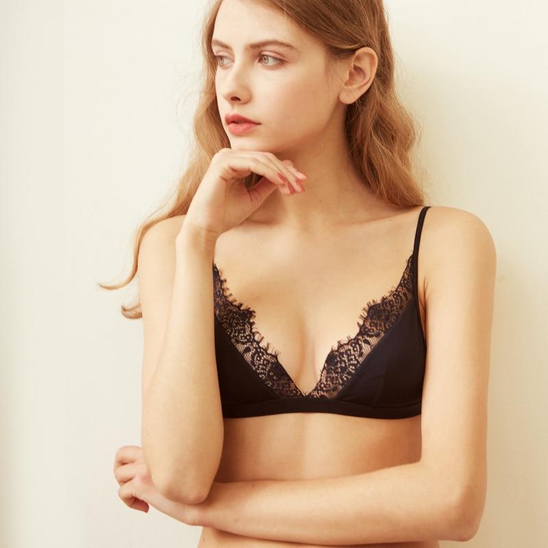 New bralette Thin Seamless Bras For Women Soft Satin Bra Comfortable Female Underwear Wireless Lace Bralette 3/4 Cup Lingerie