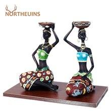 NORTHEUINS 2 предмета/партия Европейский стиль, цвет черный Женская декоративный подсвечник леди статуэтки для межкомнатных дверей скульптуры д...