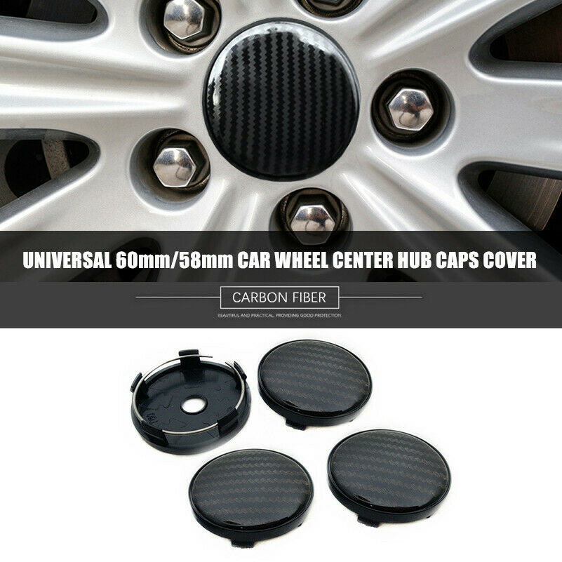 4x Black Carbon fiber ABS Decorative <font><b>Cover</b></font> <font><b>Car</b></font> <font><b>Wheel</b></font> <font><b>Center</b></font> Hub Caps 60mm/58mm image