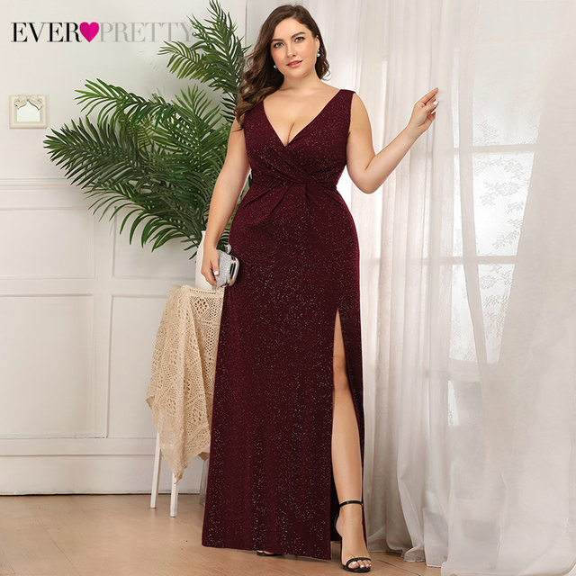 Plus Size Sparkle Evening Dresses Ever Pretty A-Line Double V-Neck Sleeveless Side Split Sexy Formal Party Gowns Robe De Soiree 2