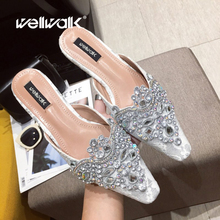 Wellwalk Crystal Crown Slippers Mules Women Flat Shoes Pointed Toe Ladies Slip On Loafers Female Party Shoes Clogs Flip Flops kohuijoo new 2018 spring genuine cow leather crystal sandals wedges woman slippers slip on ladies pumps loafers mules flip flops