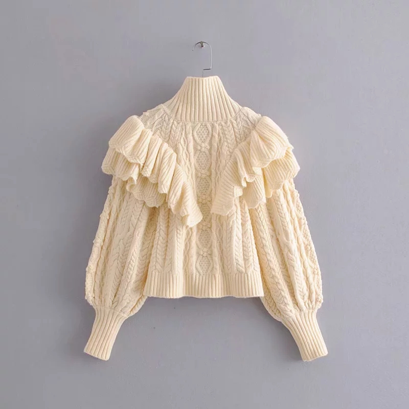 Зимний свитер с оборками и высоким воротом, женские пуловеры, вязаный свитер с длинным рукавом, повседневный женский корейский свитер 2019