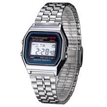 OcioDual Reloj de Pulsera Hombres Mujeres Vintage Clásico Metal Digital Wrist Watch Plata Niño Alarma Hombre Mujer Correa para