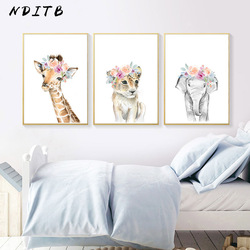 Floral Safari Animal Lion Elephant Canvas Painting Nursery Poster Print Wall Art Pictures Nordic Kids Baby Bedroom Decoration