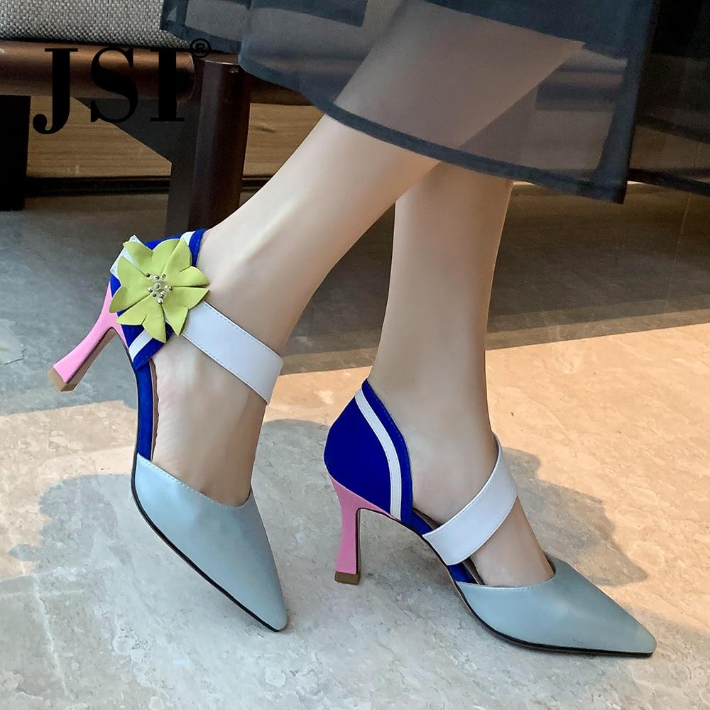 JSI Pointed Toe Women Pumps Flower Belt Decoration High Quality Sheepskin Fashion Slip-On Shoes Shallow Comfortable Pumps JO464