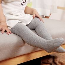 2020 Baby Girl Knit Stretch Leggings Pants Spring Autumn Infant Child Trousers Gray Pink Color Kids Toddler Ribbed Girls Legging(China)