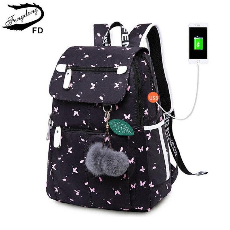 Женский школьный рюкзак FengDong, черный школьный рюкзак с usb разъемом, украшенный бабочками, с плюшевыми шариками, осень 2019|Школьные ранцы| | АлиЭкспресс