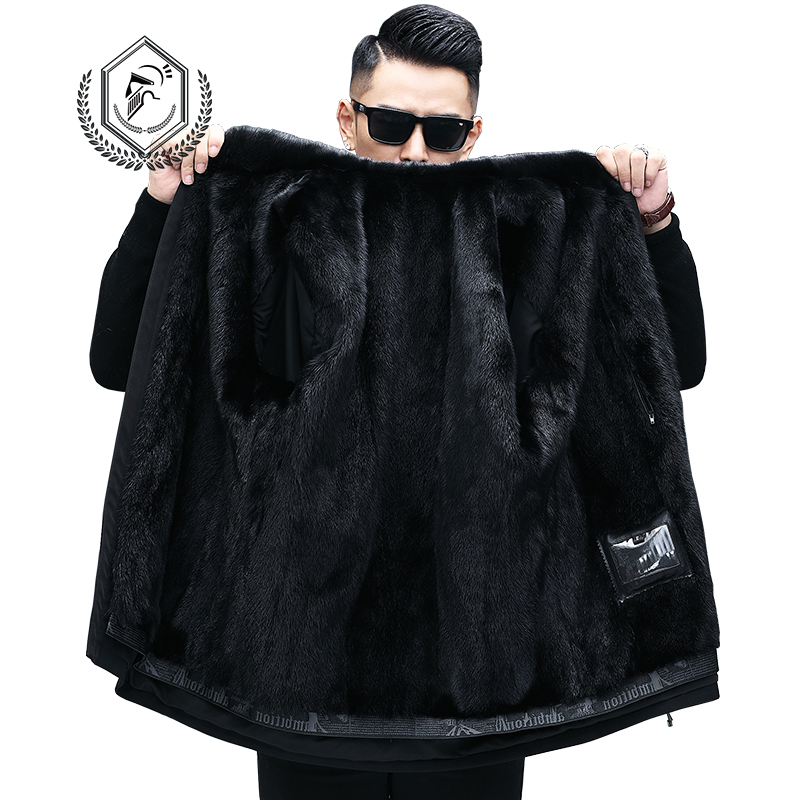 Golomise Fashion Men Real/Genuine Natural Mink Fur Lining Parka Coat/Jacket With Mink Fur Collar Fur Hoodie