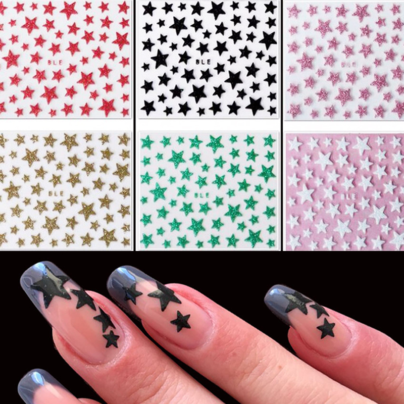 1 Sheet Women Nail Art Tips 3d Nail Stickers Decals Glitter Shinning Stars Stickers On Nails Manicure Decoration Tool LANC132