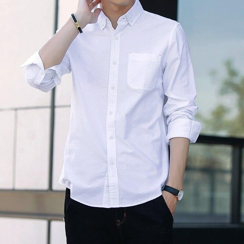 Men Long Sleeve Shirt Pure Cotton Leisure Shirt Service Season Youth Tooling White Slim Fit Big Code Inch Shirt Tide