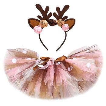 Dziewczynek Deer Tutu spódnica strój dla dzieci boże narodzenie renifer kostium maluch dziewczyna noworoczne ubrania dziecko urodziny Tutus 0-14Y tanie i dobre opinie Funkidsandme Na co dzień CN (pochodzenie) Pasuje prawda na wymiar weź swój normalny rozmiar NYLON Cartoon Łuk JY-229