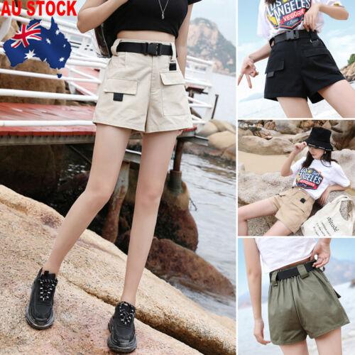 Women Solid Overalls Shorts Breathable Cargo High Waist Safari Pocket Shorts Loose Schoolgirl Trouser Beach Sweet Summer Trouser