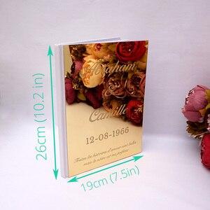 Image 5 - Kişiselleştirilmiş albüm ayna beyaz boş düğün İmza ziyaretçi defteri özel akrilik etiket konuk çek kitap parti dekor Favor