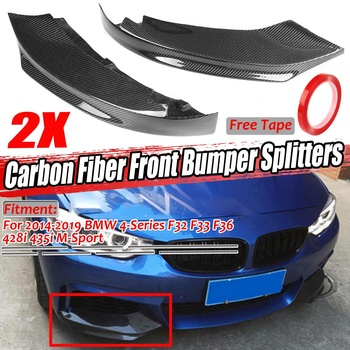 A Pair Real Carbon Fiber Car Front Bumper Splitter Lip Diffuser Spoiler For BMW 4-Series F32 F33 F36 428i 435i M-Sport 2014-2019 image