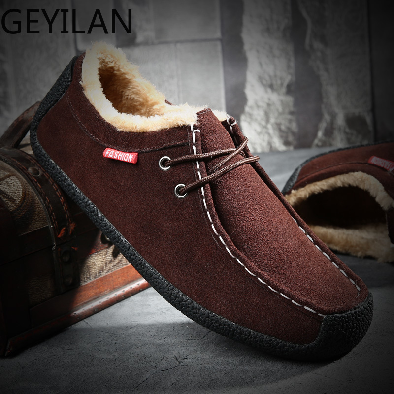 Big Size 50 Winter Pluche Warm Houden Mannen Koe Suède Schoenen Mode Mannen Flats Schoenen Casual Mannelijke Lederen Schoenen mannen Sneakers