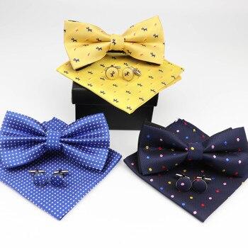 Mens Formal Dot Dog Striped Polyester Bowtie Pocket Square Cufflinks Sets Bow Tie Handkerchief Cuff Links Lots Three Piece Set