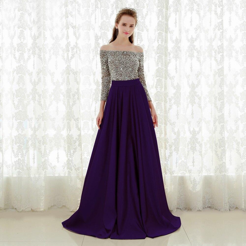 BacklakeGirls 2019 Sexy Boat Neck Off Shoulder Satin   Evening     Dress   Floor Length Sequined Prom Gowns Avondjurk Plus Size