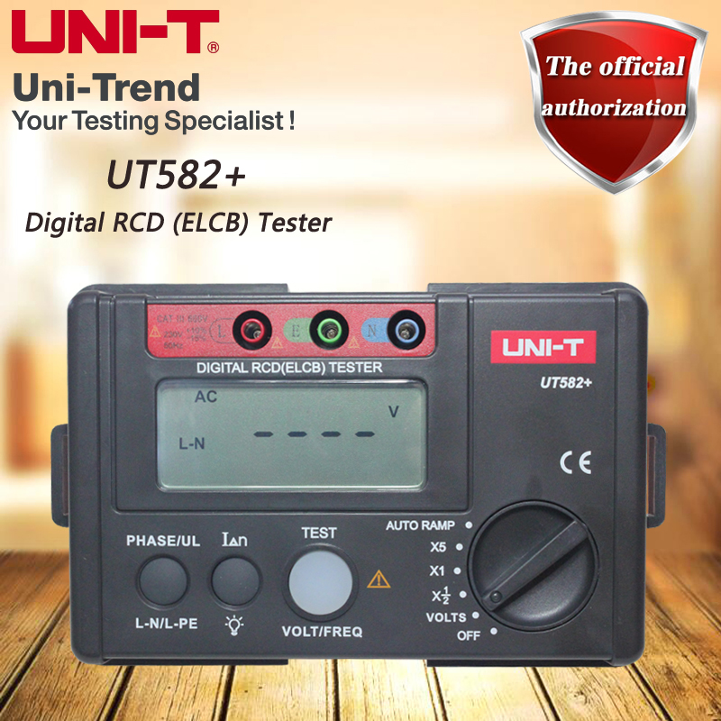 UNI-T UT582+ Digital RCD (ELCB) Tester; Leakage Switch Tester / AUTO RAMP Test / Voltage And Frequency Test