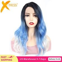 Koronki przodu syntetyczne peruki do włosów dla czarnych kobiet X TRESS 22 cal długie ciało fala Ombre zielony niebieski kolor Cosplay koronkowa peruka przedziałek z boku