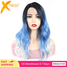 Lace Front Synthetic Hair Wigs For Black Women X TRESS 22inch Long Body Wave Ombre Green Blue Color Cosplay Lace Wig Side Part