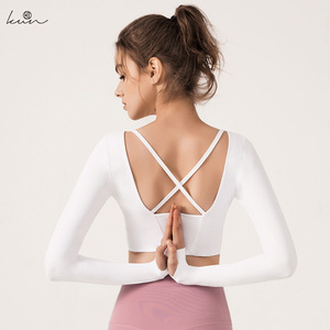 Женская футболка с длинным рукавом для йоги, фитнес-костюм с длинными рукавами, футболка для тренажерного зала с подушкой на груди
