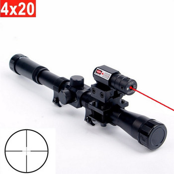 3in1 4x20 Tactical Hunting Riflescope Crossbow Optics With Red Dot Laser Sight 11mm Rail Mounts For 22 Caliber Guns Rifle Scope visionking 4 20x50 top quality optics riflescope high power shockproof rifle scope for hunting tactical riflecopes w 11mm mounts