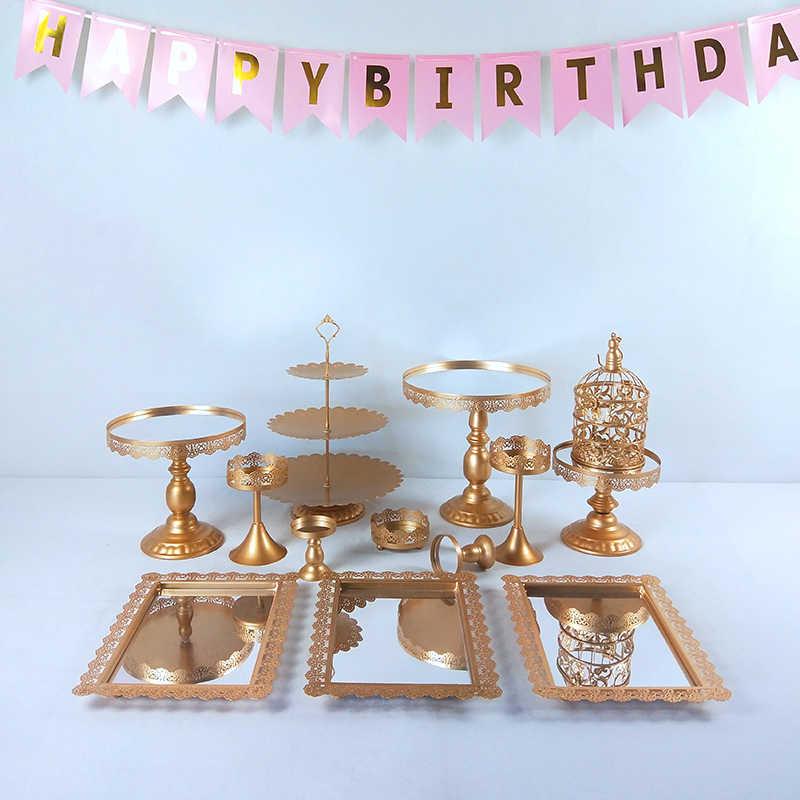 Support métallique en or 6- 16 pièces/ensemble Cupcake gâteau support de service présentoir fête d'anniversaire décoration de mariage