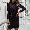 2021 Spring Elegant Stand Collar Solid Party Dress Women Vintage Pleated Dresses Ladies Puff Long Sleeve Bodycon Dress Vestidos 1