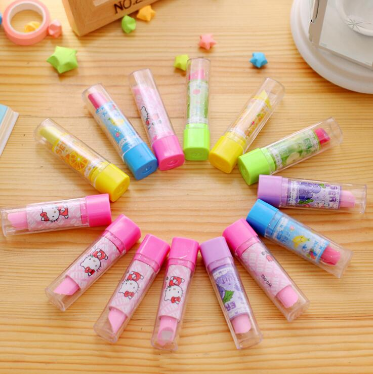30pcs/lot Cartoon Lipstick Design Non-toxic Eraser Pencil Eraser For Kids Gifts School Stationery Correction Supplies